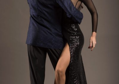 Argentine tango dancers posing in a photo shoot