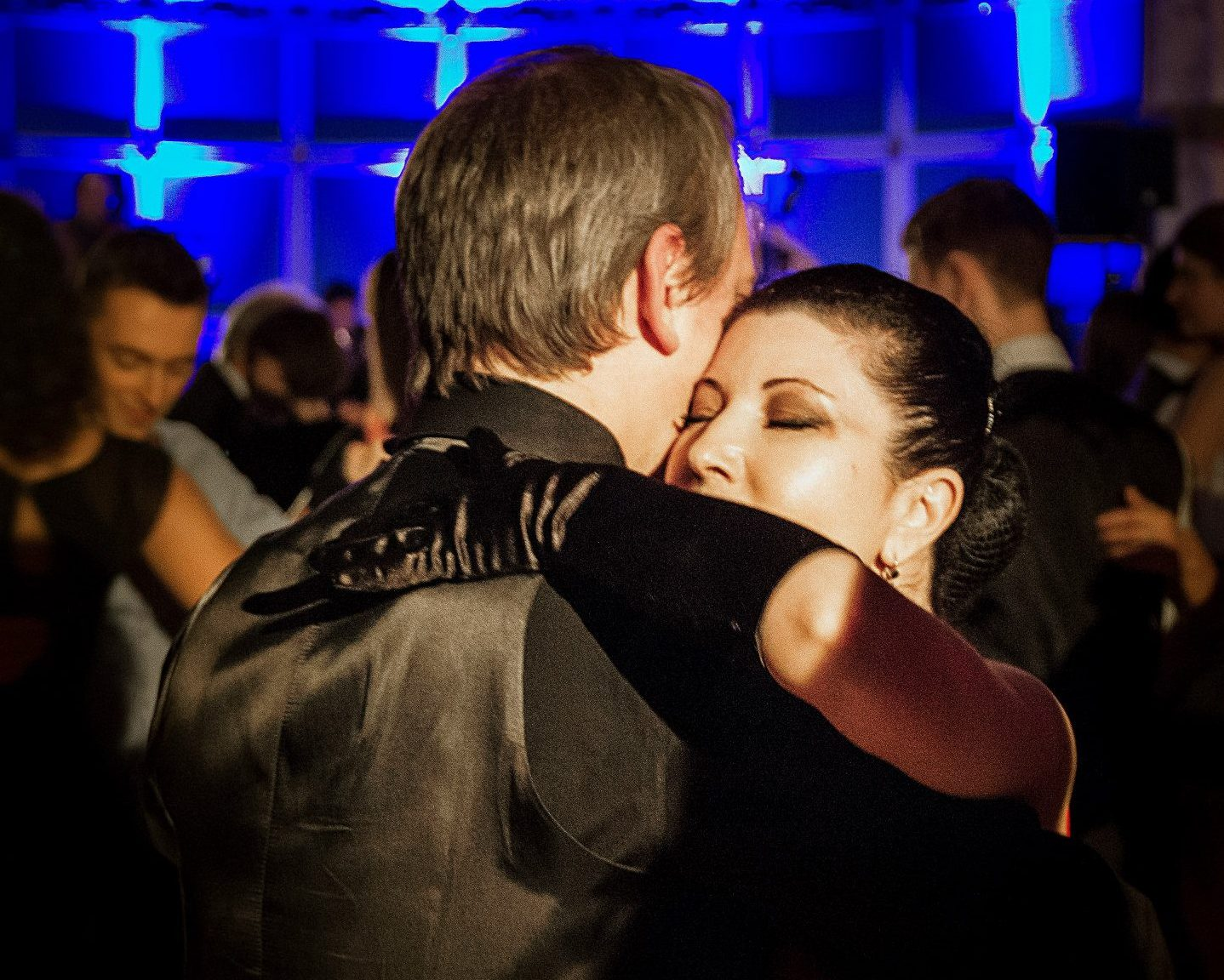 tango couple in a close embrace