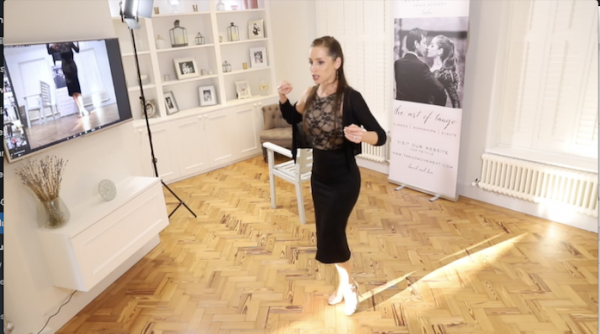 Kim teaching footwork via Zoom