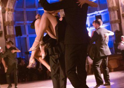 Tango dancer in mid-leap