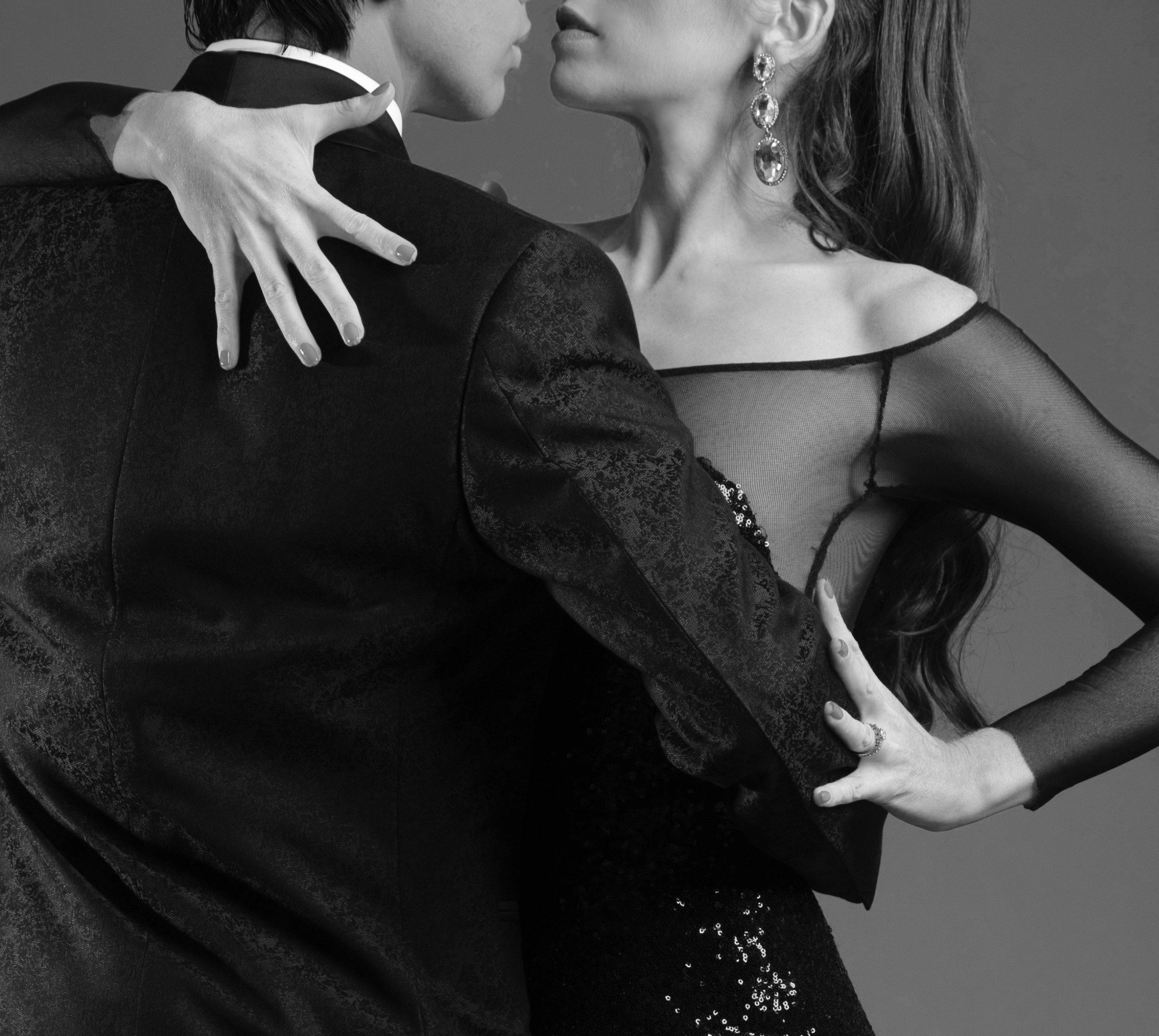 close up of a dramatic tango embrace