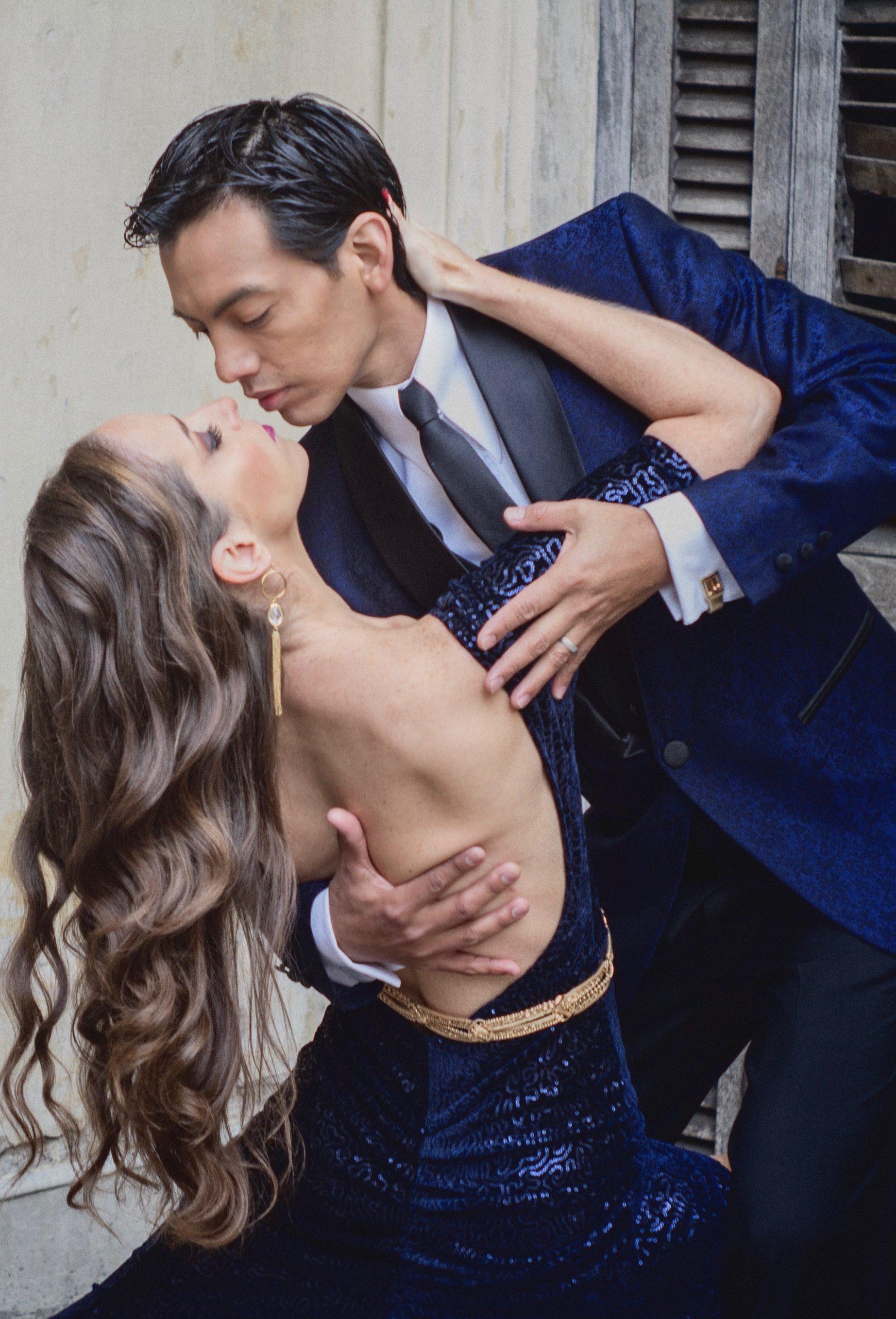 tango dancers posing in photo shoot