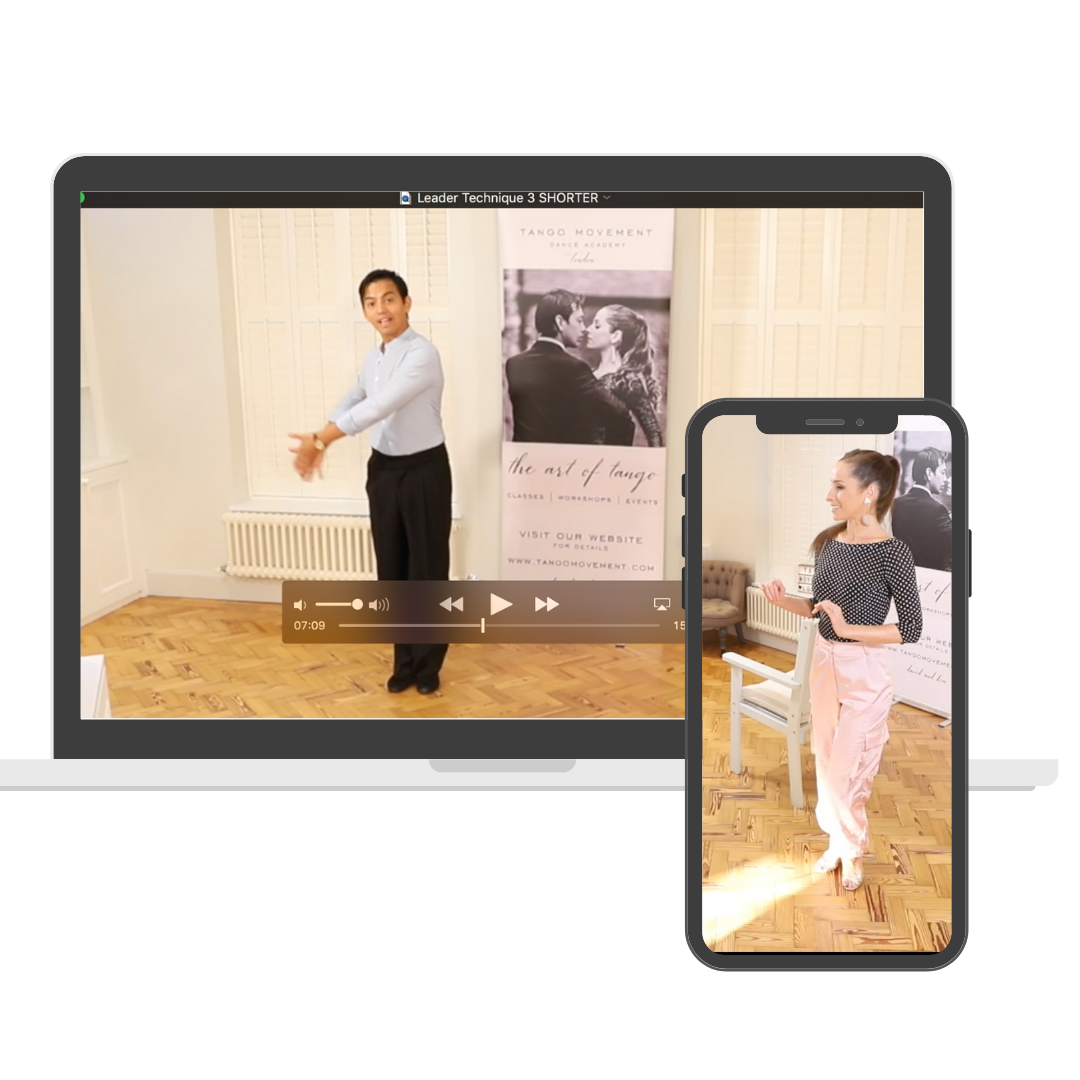 desktop and mobile showing tango classes